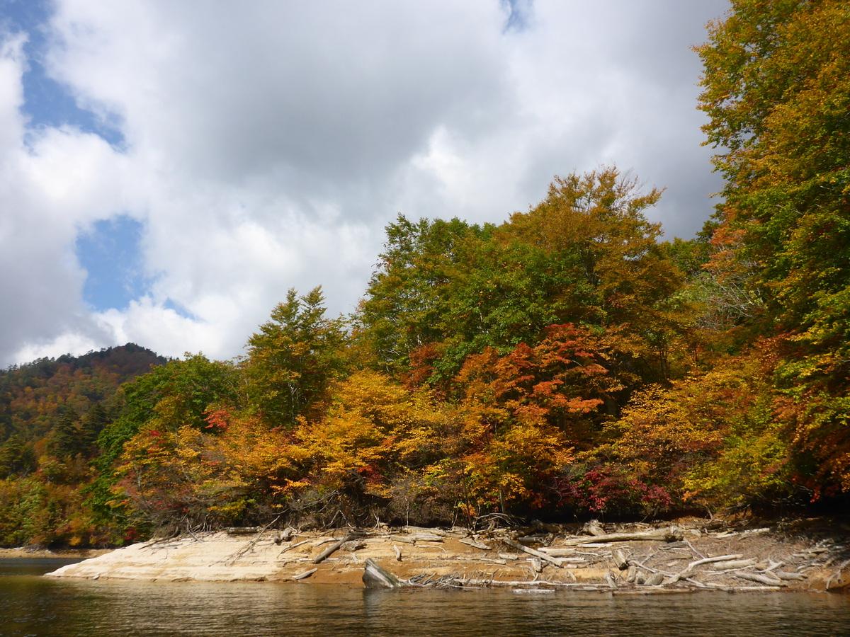 湖の上でのんびり紅葉狩り♪