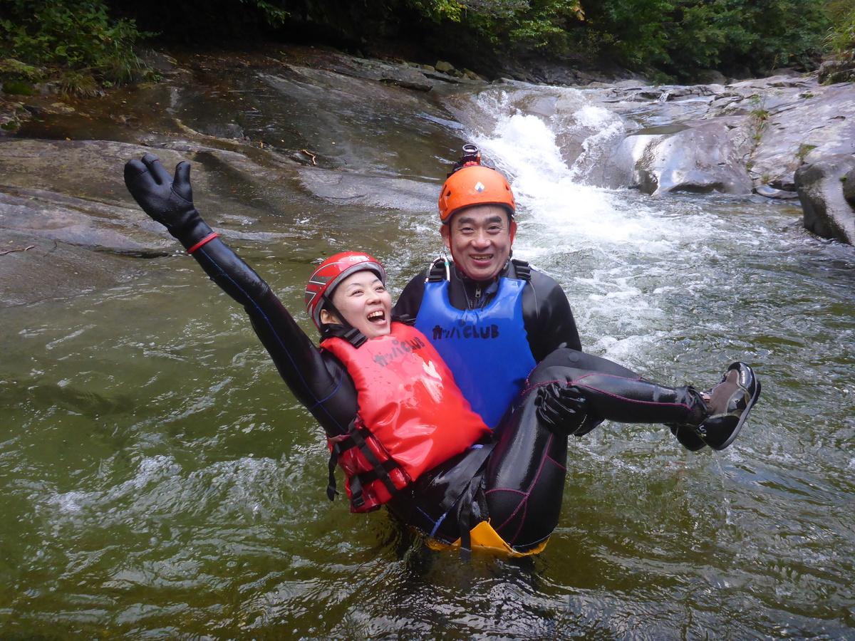 シャワークライミング 少しずつ足下に秋を感じ始めたハナゲの滝コースでした