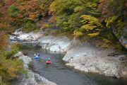紅葉が真っ盛りの利根川でラフティング